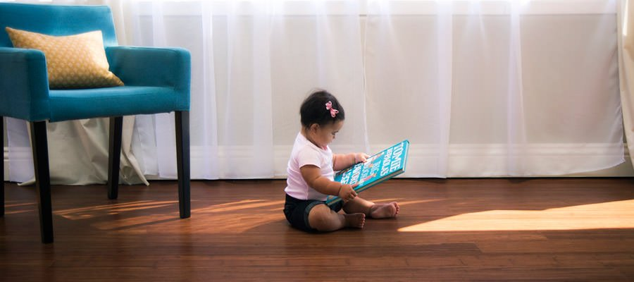 Baby on bamboo flooring