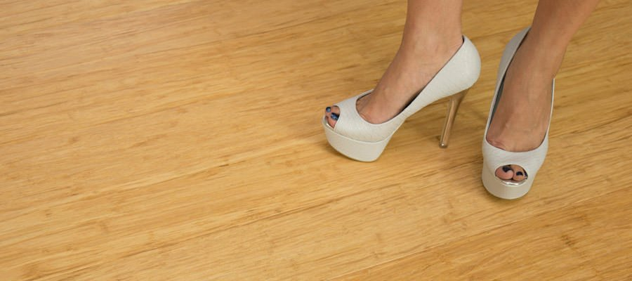 High heels on bamboo flooring