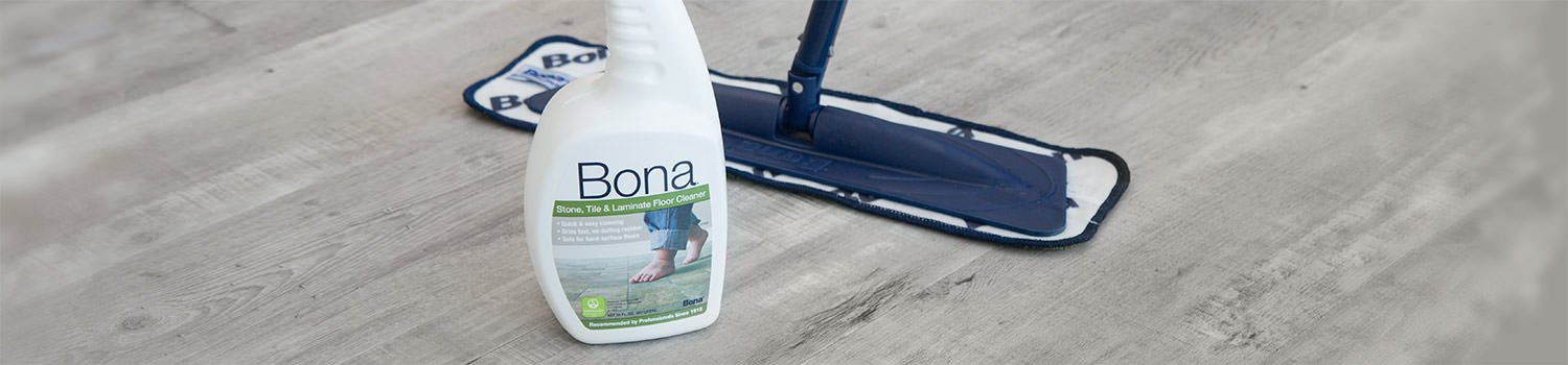Cleaning vinyl floors with a microfiber mop using Bona Stone, Tile, & Laminate cleaner