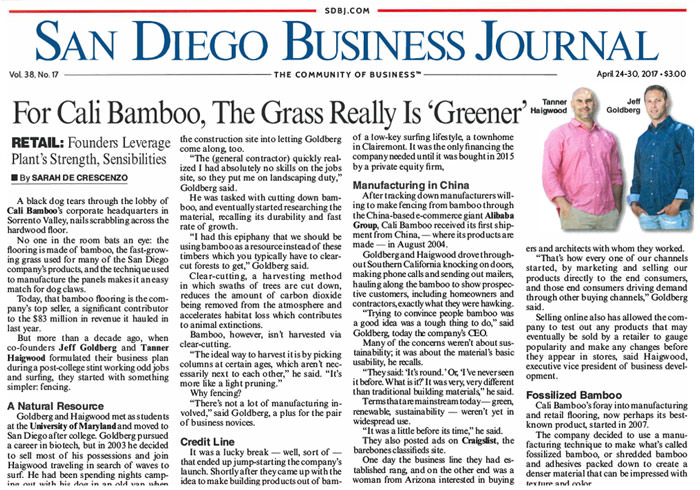 San Diego Business Journal Cover Article Features Cali Bamboo