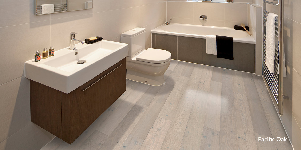engineered oak flooring in bathroom