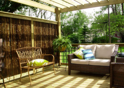 Bamboo fencing on porch