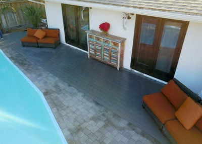 TruOrganics composite decking with pool and furniture