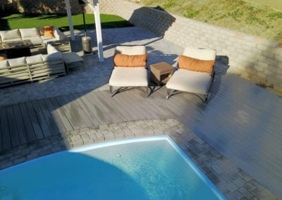TruOrganics Composite Decking with pool and chairs