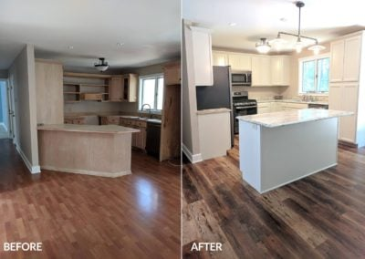 Mesquite cali vinyl in the kitchen - before and after