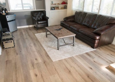 Aged hickory vinyl in the living room