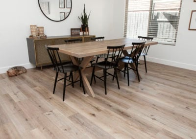 Aged hickory vinyl in the dining room