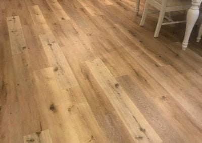 Aged hickory cali vinyl in the dining room
