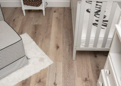 Aged hickory vinyl in the nursery